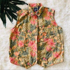 Gap Vintage VTG Pineapple Floral Hawaiian Top M